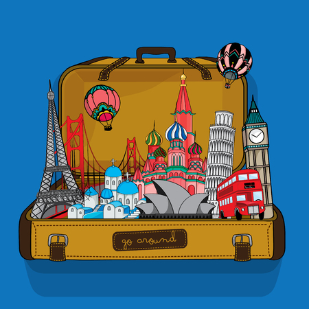 Several Landmark of the world in suitcase.