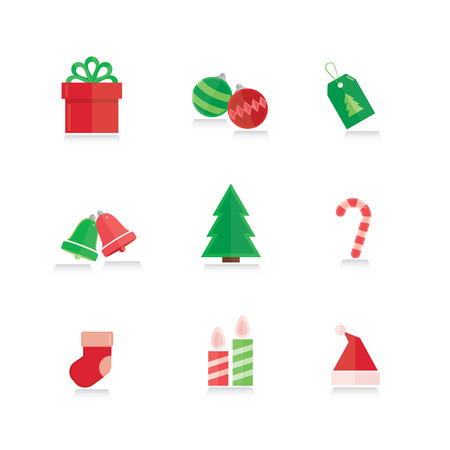 Christmas icons in modern flat design.