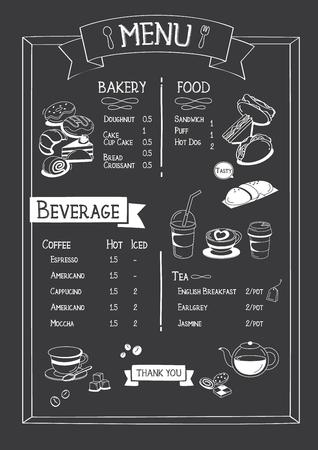 Blackboard Cafe menu with bakery, food and beverage.