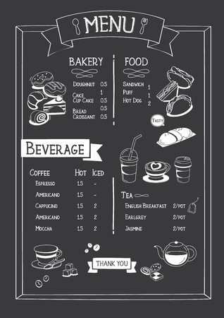 Blackboard Cafe menu with bakery, food and beverage. 版權商用圖片 - 95672229