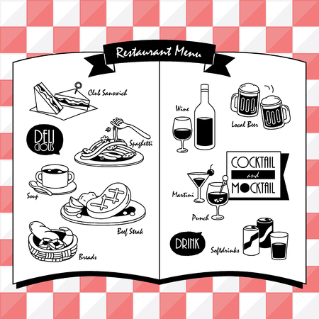 ood and Beverage menu for restaurant and cafe. Design template with hand-drawn graphic elements in doodle style.