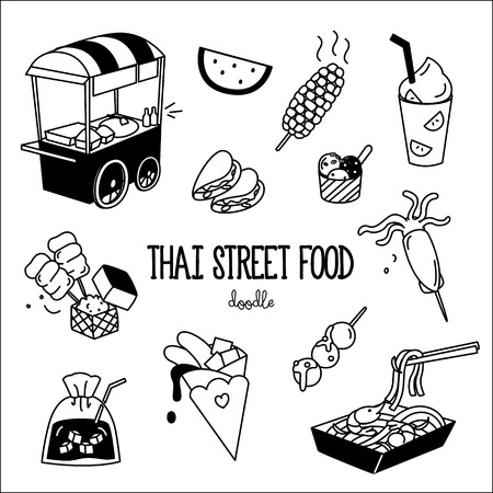 Hand drawing styles of Thai street food. Doodles of Thai street food.