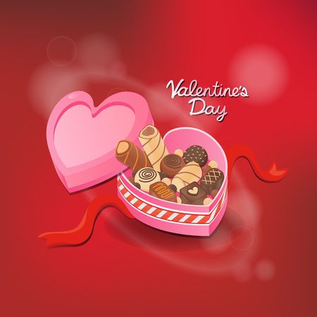 Happy valentines day design elements. Chocolate box on red background with ornaments. Be my Valentine Background.