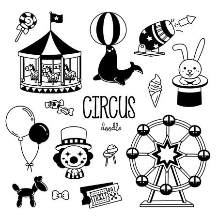 Circus doodles. Hand drawing of circus show.