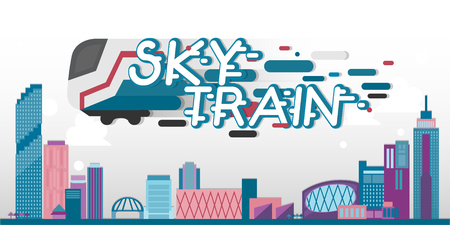 Skytrain with city landscape. Vector template Illustration
