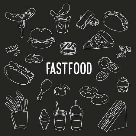 Fastfood Doodle on blackboard background.