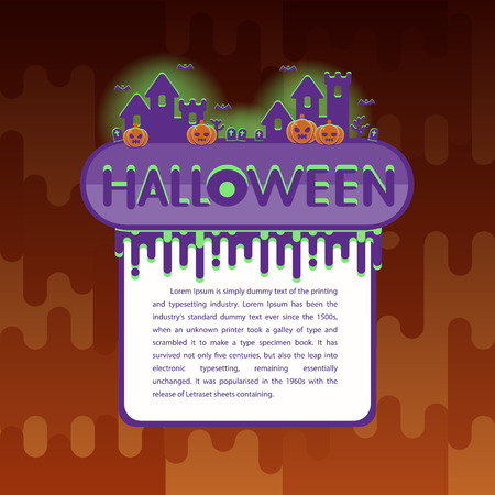 Halloween background with pumpkin, haunted house. Flyer or invitation template for Halloween party. Vector illustration.