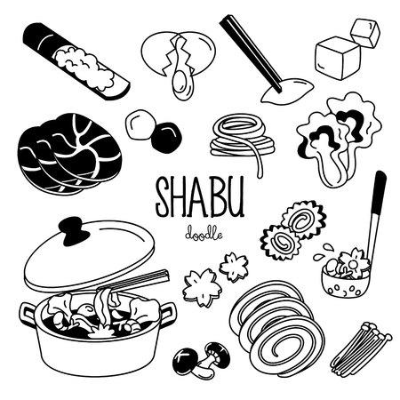 Shabu menu doodle. Hand drawing styles for shabu menu