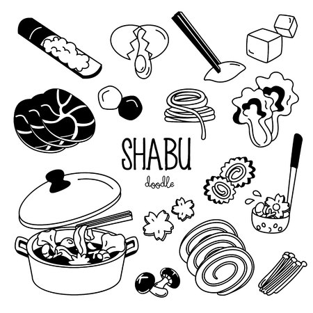 Shabu menu doodle. Hand drawing styles for shabu menu