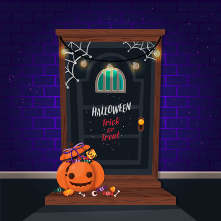 Halloween vertical background with pumpkin and haunted house. Flyer or invitation template for Halloween party.