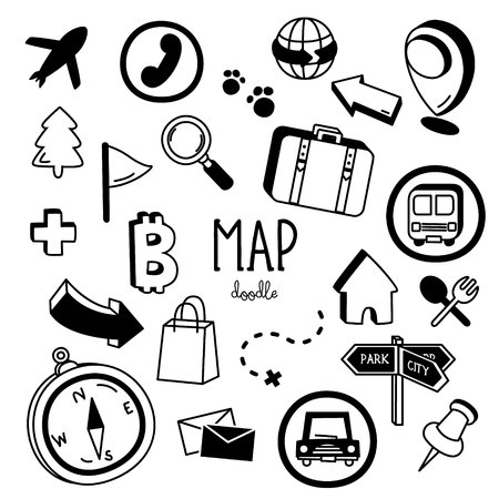 Doodle map icons. Hand drawing styles for map icons.