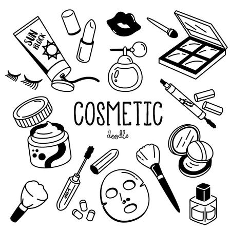 Griffonnage cosmétique. Styles de dessin à la main pour les articles cosmétiques.