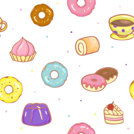 Dessert and bakery seamless pattern. Background with dessert and bakery on a white.