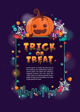 Halloween background with pumpkin and candy for trick or treat. Flyer or invitation template for Halloween party.