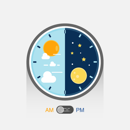 Day and night in clock pattern. Day night concept with sun and moon on blue and dark sky.  イラスト・ベクター素材