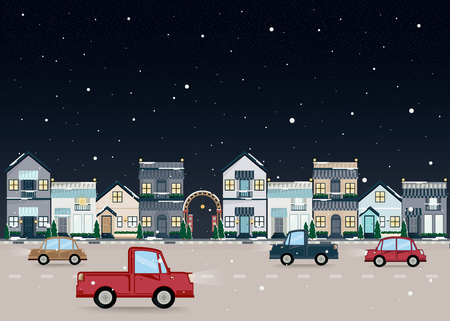 Town landscape in winter. Vector flat illustration urban building with night street . Illustration