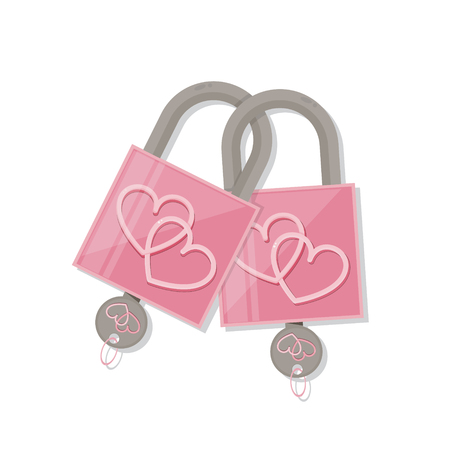 Couple pink heart lock with key. valentines day love symbol.