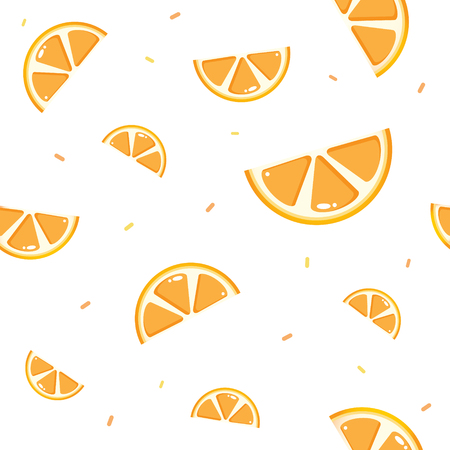 Colorful Orange seamless pattern. Citrus fruit background. Elements for menu, greeting cards, wrapping paper Illustration