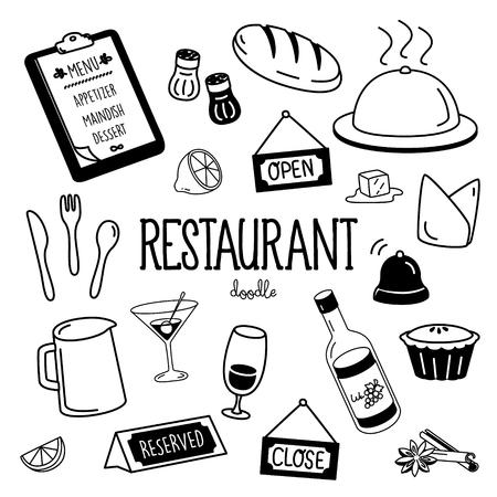 Handzeichnungsstile für Restaurantartikel. Restaurant-Doodle.