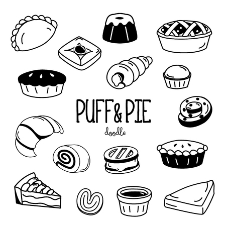 Hand drawing styles for puff and pie. Doodle bakery puff and pie