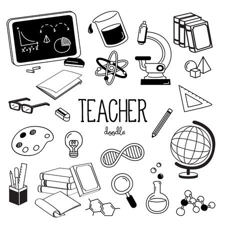 Hand drawing styles for teacher items. Teacher doodle. Çizim