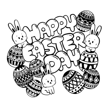 Happy Easter day Doodle. Easter day with cute bunny and eggs.