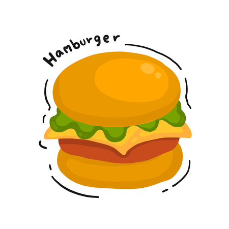 Cheese burger drawing in doodle styles. Hamburger vector illustration.
