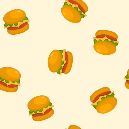 Hamburger doodle seamless pattern. Vector illustration