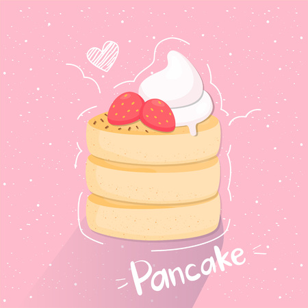 Vector illustration of stack of pancakes with whipped cream and strawberries. - Vector