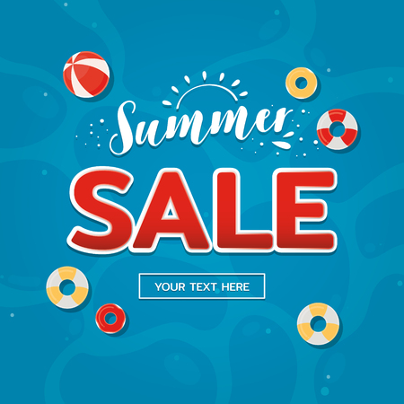 Summer sale label with pool background. Summer Background.