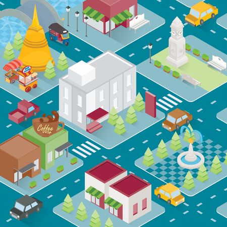 City isometric with several building, template, shop and park. Vector illustration Ilustracja