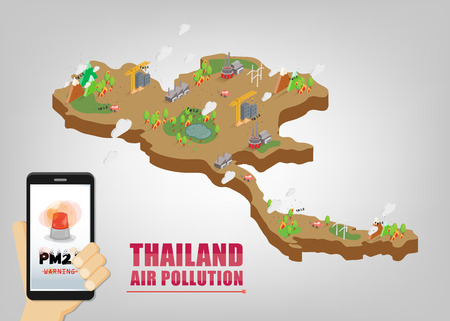 Map of Thailand. Warning about PM2.5 dust in excess of standards in Bangkok. Bangkok air pollution Çizim