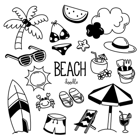 Hand drawing styles with beach items. Doodle beach.
