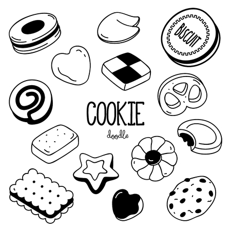 Hand drawing styles for cookie. Cookie Doodle. Standard-Bild - 127155027