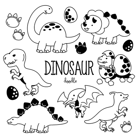Hand drawing styles with Dinosaur.items. Doodle Dinosaur.