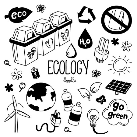 Hand drawing styles with Ecology items. Doodle ecology.