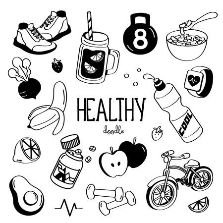 Hand drawing styles for Healthy items. Doodles Healthy. Çizim