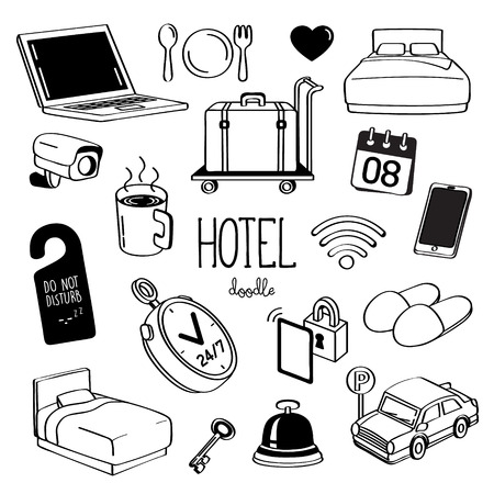 Hand drawing styles for hotel items. Doodle Hotel service.