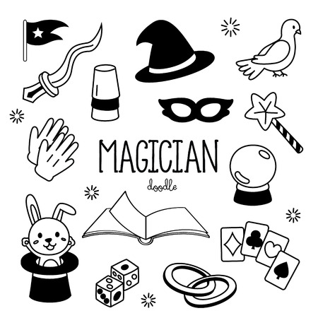 Hand drawing styles Magician items. Doodles magician