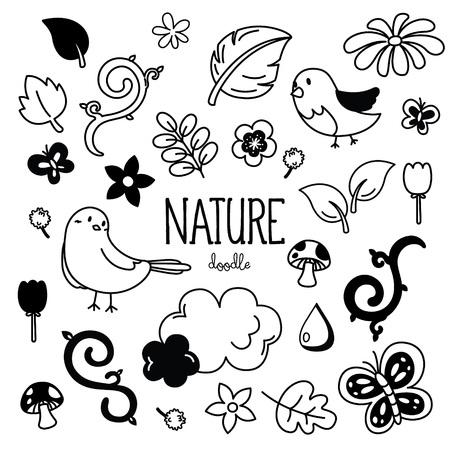 Stili di disegno a mano per la natura. Scarabocchiare la natura.