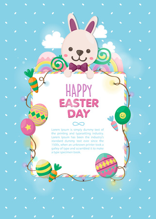 Colorful Easter day with white rabbit and fancy eggs template.