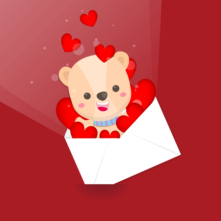 Happy Valentines day,Cute bear and hearts envelope on pink background. Greeting card for Valentines day