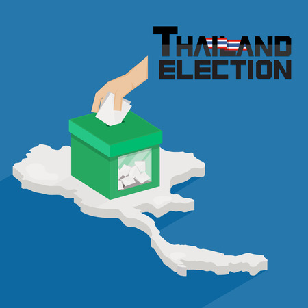 Thailand general election. Ballot box with hand voting on Thailand map background. - Vector illustration Çizim
