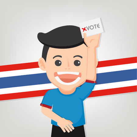 Thai General Election, People puts voting ballot in ballot box with Thai flag. Vector illustration - Vector