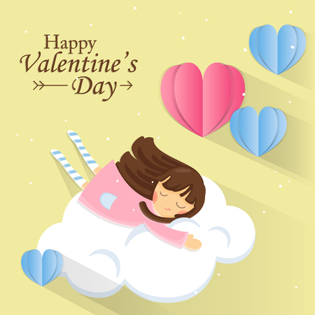 Greeting card for Valentines Day. Sweet girl on cloud with Paper heart on pastel background.