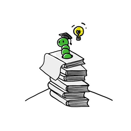 Doodle art with bookworm and a lot of books. Worn in stack of book. Çizim