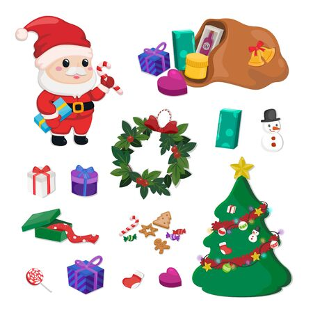 Christmas element set. Decoration for Christmas celebration on white background.
