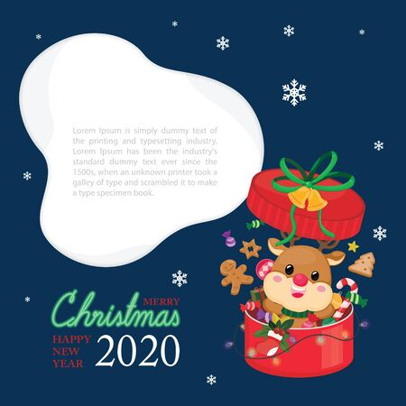 Christmas festive template. Greeting card for Christmas and New year with reindeer.