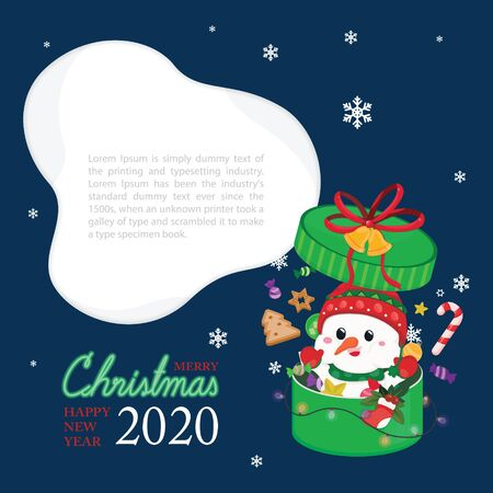 Christmas festive template. Greeting card for Christmas and New year with snowman.