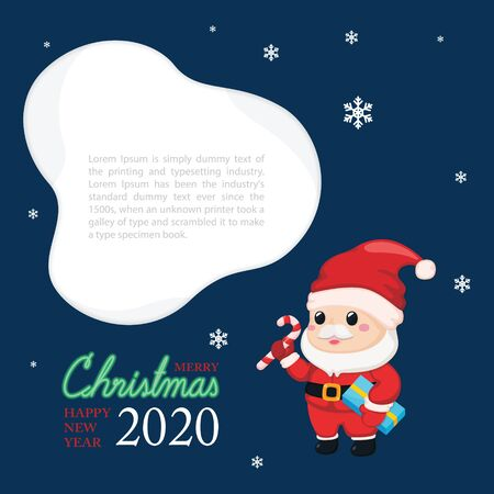 Christmas festive template. Greeting card for Christmas and New year with Santa claus. Çizim